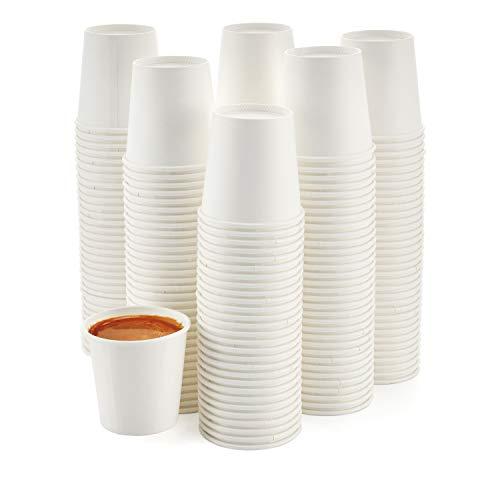 [200 Pack] 4 oz. Espresso Paper Cups - Small Disposable White Hot Paper Coffee Cups for Espresso, Macchiato, Cortado and More
