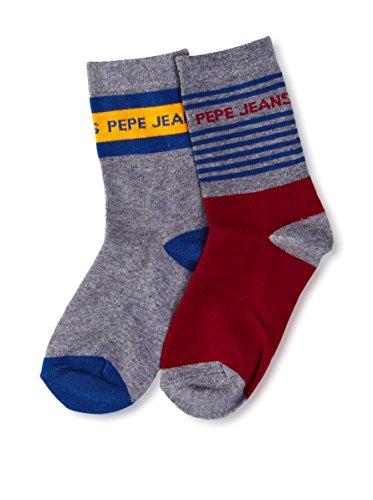 Pepe Jeans 2tlg. Set Socken Cosmo grau/bordeaux EU 28-31
