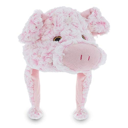 Puzzled 17.5' Soft Pig Plush Hat Cozy Party Costume Head Accessories, Pig Head Plushie, Piglet Toy Winter Soft Hat, Funny Beanie Stuffed Animals Hat, Warm Fleece Crazy Hats, Kids Winter Hat - One Size