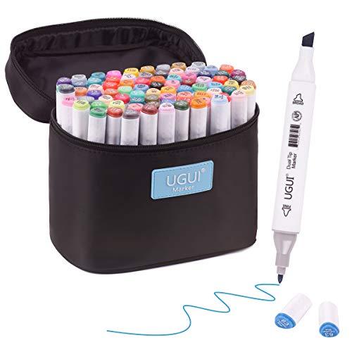 ✔Marcadores UGUI de 80 marcadores de doble punta. Uno de 1mm, uno de 6mm. ✔El marcador ugui se puede utilizar en plástico, vidrio, madera, metal y textiles. ✔Perfecto para la clase de arte. El marcador de pincel, boceto, es la herramienta perfecta pa...