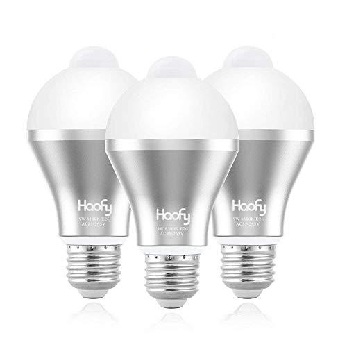 人感センサー電球,Haofy LED電球 9W E26/27人感センサーライト明暗センサー付き 赤外線センサーライト 自動点灯/消灯 省エネ 長寿命 防犯 (昼白色) 3pack