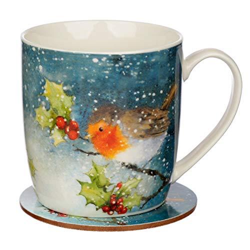 Jan Pashley Christmas Robin Porcelain Mug and Coaster...
