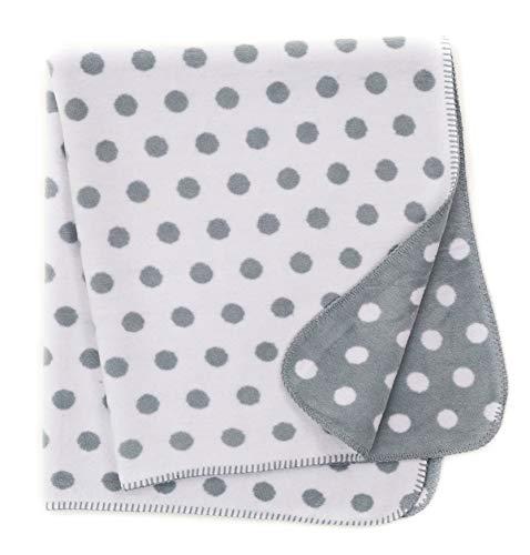Babydecke/Kuscheldecke für Babys, kuschelig weich, Baumwollmischgewebe, 100x120 cm, Grau - Punkte