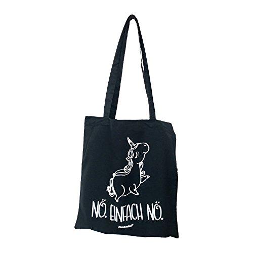 Einhorn-Baumwoll-Tasche Nö. einfach Nö. I dv_238 I 38 x 42 cm groß I Jute-Beutel Shopper in schwarz zum Umhängen für Mädchen Kinder Teenager niedlich