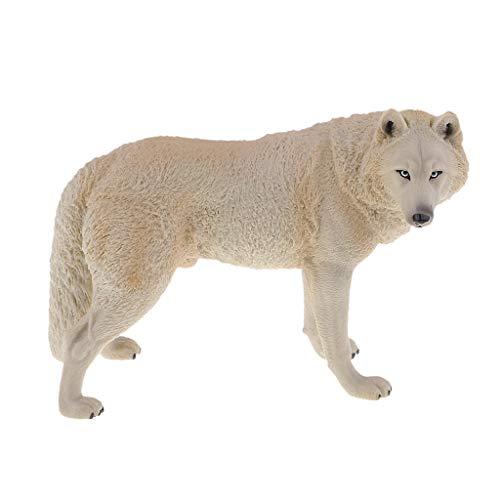 Fenteer Miniatur Wolf Dekofigur Modell Tischdeko Display Sammeln, Geschenk für Alle - Beige