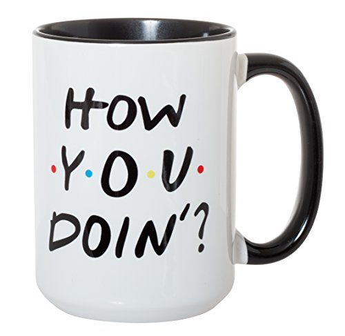 How You Doin' Mug - 15oz Deluxe Double-Sided Coffee Tea Mug (Black Inlay)