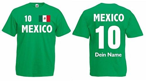 Mexico T-Shirt mit Wunschname und Wunschnummer Trikot|g-xl
