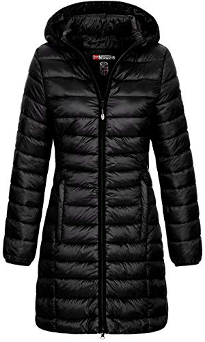 Geographical Norway Damen Winter-Jacke Steppmantel Blonde/Areca mit Kapuze Black M