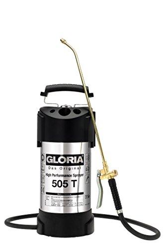 GLORIA Hochleistungssprühgerät 505 T | Gartenspritze | 5 L Füllinhalt | Drucksprüher aus rostfreiem Edelstahl | mit Zeigermanometer | 6 bar