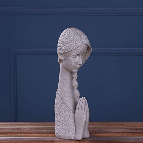 Oryo Chica Estatua,Mano Esculpida-Figura Pintada,Resina Creativo Jardín Decorativo Escultura,Casa Al Aire Libre Y Interior Decoración