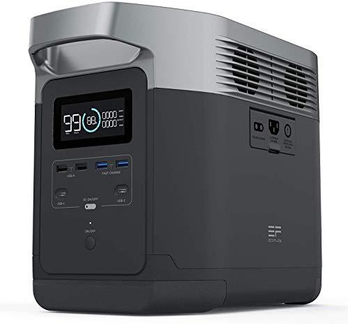 ECOFLOW-Estación de Energía Portátil EFDELTA,Fuente de Alimentación UPS,Paquete de Baterías de 1260Wh con 4 Tomacorrientes de CA de 1800W, Generador de Batería Solar Para Acampar al Aire Libre RV