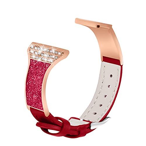 Fashion Glitter Bands Compatible con VERSA 2 / VERSA / VERSA LITE, BAND DE REPUESTO DE RHINESTONE Relojes transpirables Correa de cuero Pulsera deportiva Compatible con Versa 2, Púrpura correas de rep