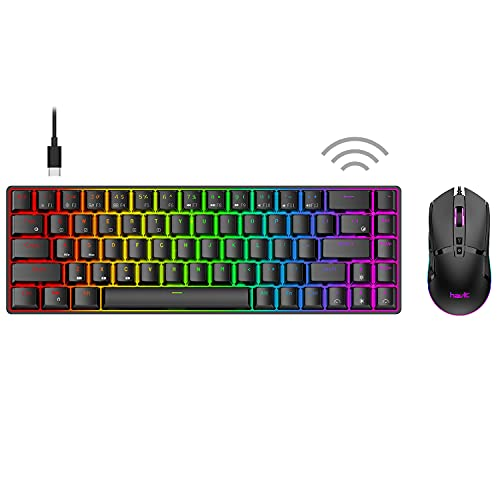 Havit 60% Wireless Mechanical Keyboard and Wired Mouse, Bluetooth 5.1 & Type C Wired 68 Keys Gaming Keyboard Brown Switch,Programmable Gaming Mouse for Multi-Device PC Laptop Gamer (Black)