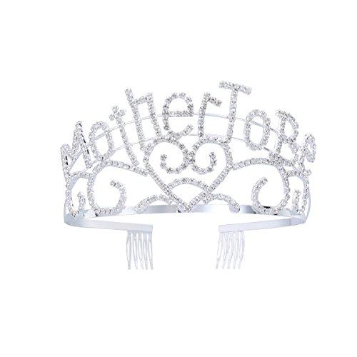 Frcolor Mère en métal à être couronne de diadème argentée avec des strass étincelants pour la douche de bébé