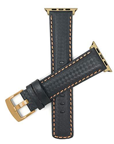 Bandini Correa de repuesto de cuero para Apple Watch, compatible con Apple Watch Series 5, 4, 3, 2, 1 correa, fibra de carbono, hebilla negra y naranja, conector dorado y tono dorado – 38 mm/40 mm