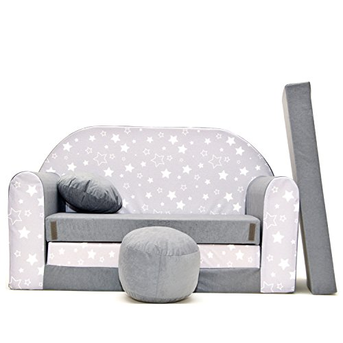 millybo Kindersofa Couch Kindercouch 3in1 Kinder Sofa Spielsofa Minisofa grau (MI-A39)