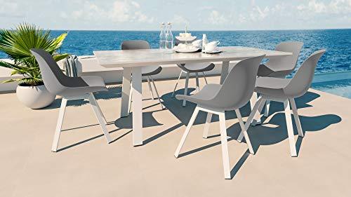 ARTELIA - Themis L Gartenmöbel Essgruppe Aluminium 6 Personen Esstisch Set für Garten, Terrasse, Gartenmöbelset Weiß