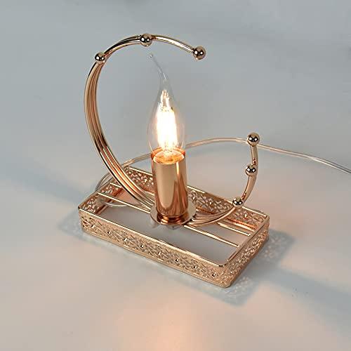 Lámpara pequeña de mesa de noche, lámpara de mesita de noche moderna plateada de metal para dormitorio Fantasy, lámparas de base de metal para dormitorios, salones, oficinas y habitaciones