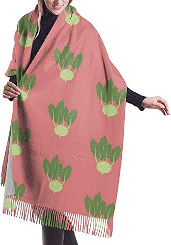 JJsister Damen Pashmina Wrap Schals,Winterschal Kohlrabi Vegetable Pattern Damens Classic Winter Warm Cashmere Schals Shawls