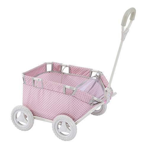 Olivia's Little World - Polka Dots Folding Princess Baby Doll Wagon, Stuffed Animal, Toy Storage Wagon, Pink Polka Dots
