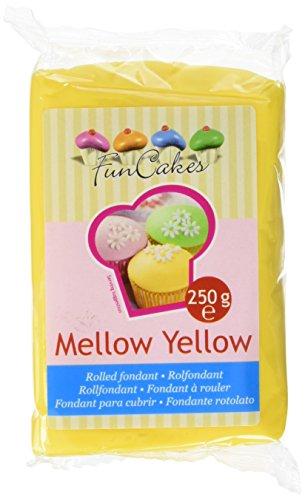 FunCakes Fondant Mellow Yellow: Einfach zu Verwenden, Glatt, Elastisch, Weich und Schmeidig, Perfekt zum Dekorieren von Torten, Halal, Koscher und Glutenfrei. 250 g