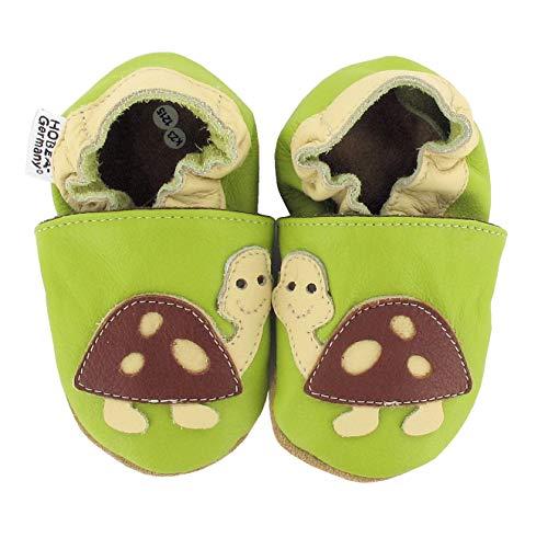 HOBEA-Germany Krabbelschuhe Designs mit Tieren, Schuhgröße:20/21 EU ;Modell Schuhe: Schildkröte grün