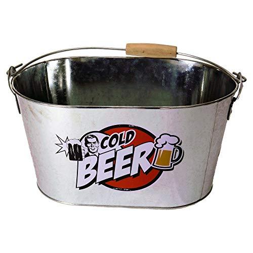 Bier Eiseimer mit Flaschenöffner aus Metall - Cold Beer Bierkühler Biereimer Getränkekühler