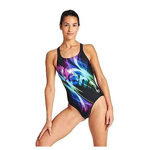 ARENA Colour Shadings Swim Costume da Bagno da Donna, Donna, Costume da Bagno, 0000004064, Nero/Martinica, 44
