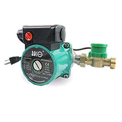 BACOENG 3/4'' 110V RS15/6G 3-Speed Control Hot Water Circulation Pump/Circulating Pump With US Plug and Flow Switch