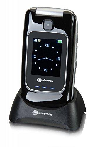 Cellulare per Anziani 3G UMTS Dual Sim Suoneria Forte Amplificata 90Db Volume 35Db Compatibilità Apparecchi Acustici M4/T4 Pulsante SOS Telesoccorso Tasti Parlanti 3 Tasti Diretti Base di Ricarica