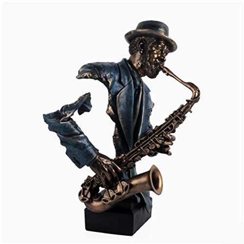 Sculptuur Ornamenten Moderne Creatieve Muziek Saxofoon Buste Standbeeld Abstracte Figuur Muzikant Beeldje Hars Ambachtelijke Huisdecoratie