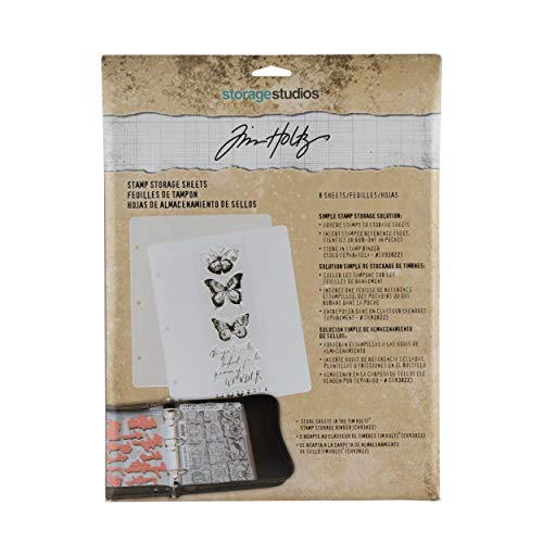 Stamp Refill Sheets, by Tim Holtz Idea-ology, Use with Stamp Storage Binder CH93822 - Sold Separately, Pack of 8 Sheets (CH93823)