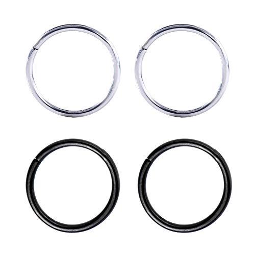 Drawer Props - Pack 4 Piercings Aros Nariz y Oreja 0.8 X 10mm de Acero Quirúrgico Flexible - Colores Negro y Plata - Pendientes Reales Hipoalergénicos