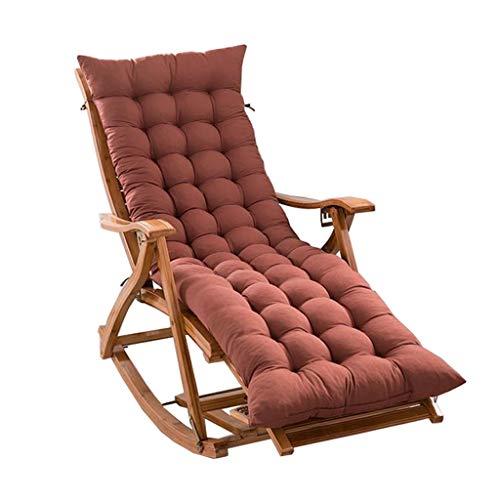 Fauteuil à Bascule Pliant extérieur Chaise Longue Chaise en Bambou Patio Chaise de Jardin balancelle Chaise Sieste Fauteuil de Dossier Femme Enceinte inclinable (Color : A+Cushion)
