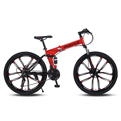Bicicleta de montaña de 26 ruedas Frenos de disco Daul 21/24/27 velocidades Bicicleta para hombre Suspensión delantera MTB con marco de acero al carbono para un camino, senderos y montañas (tamaño: 27