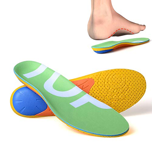 TOPSOLE Sports Shock Absorption Cushioning Insoles for Walking,Running,Hiking, Unisex Full Length Arch Support Insoles, Heel Pain Relief, Cuttable (Upgrade Fluorescent Green, US 3-7)