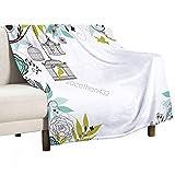Manta de bebé unisex para niños/niñas/recién nacidos, fondo floral floreciente con pájaros tropicales que vuelan lejos de las jaulas, manta suave y cálida para cuna de la siesta, 75 x 100 cm