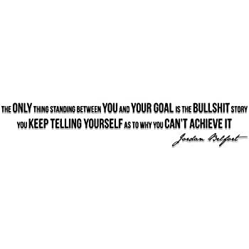 """My Vinyl Story Motivational and Inspirational Wall Decal Home Office Decor Jordan Belfort Quote """"The Only Thing Standing Between You and Your Goal"""" 42x8 inches"""