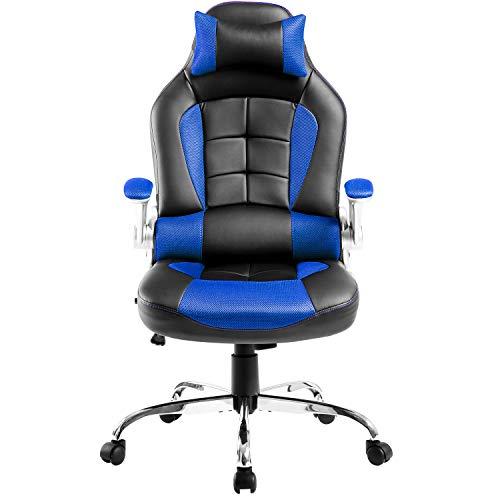 Silla para juegos, silla de oficina ergonómica, respaldo ajustable y altura, giratoria de 360°, silla de juegos de PU con reposacabezas y soporte lumbar, capacidad de carga 350 libras (azul)
