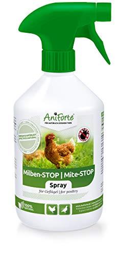 AniForte Milben Spray für Hühner & Geflügel 500ml - gegen Milben & Parasiten, Milben Stop, Umgebungsspray & Kontaktspray, bei akutem Befall & Vorbeugende Maßnahme, Natürlich effektiv