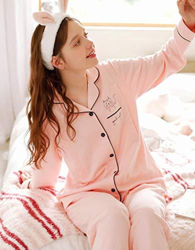 lxylllzs Manche Courte Été Pyjamas Rayure ,Pyjamas en Coton de Printemps et d'automne, vêtements d'allaitement Maternity Home Service-1_L,2 pièces,Dentelle Satin et Robes