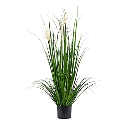 Luxsego Artificial Greenery Plants with Reed Flowers, 46 Inches Flower Topiary Shrubs with Pot, Artificial Greenery Silk Plants for House Decorations, Lobby, Bathroom, Wedding, Garden, Office(Green)