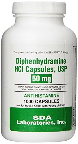 SDA Laboratories Diphenhydramine Capsules, 50mg Caps, 1000 Count