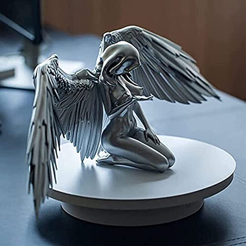 アートエンジェル女性の女性の羽をひざまずいたクロークの帽子、3 d天使のアート像の装飾、屋外と屋内の装飾のためのヌードのセクシーな人間の銀銀樹