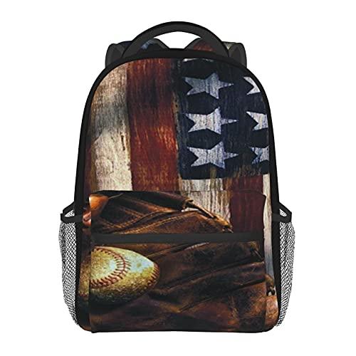 Schulrucksäcke Baseball USA-Flagge Casual Schultertasche Mehrzweck Tote Leicht Daypack für Mädchen/Jungen, Baseballflagge USA, One size