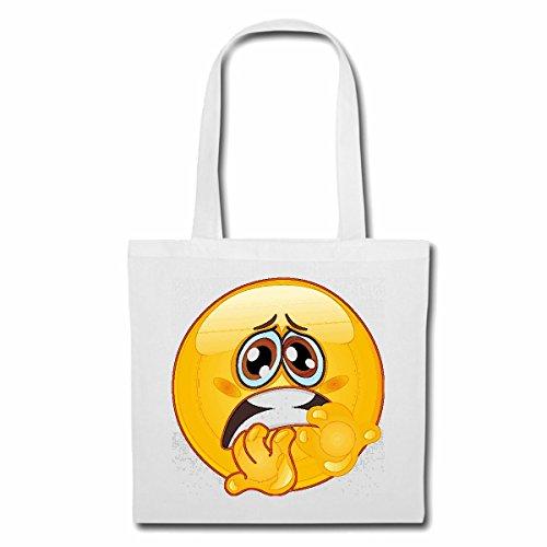 Tasche Umhängetasche ÄNGSTLICHER Smiley Smileys Smilies Android iPhone Emoticons IOS GRINSEGESICHT Emoticon APP Einkaufstasche Schulbeutel Turnbeutel in Weiß