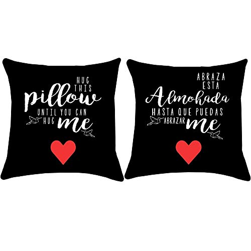 ArtStudy Red Love Heart Valentine's Throw Pillow Cover 16x16 Inch Set of 2, Cotton Linen Black Cushion Covers for Military Couple Long Distance Relationship Gift(Hug This Pillow Until You Can Hug Me)