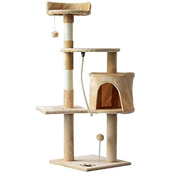 Pawhut Arbre à Chats Multi-équipements griffoirs grattoirs Plateformes Niche Corde Jouets 40L x 40l x 114H cm Beige
