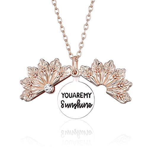 BMMYE You are My Sunshine Necklace Engraved Inspirational Snowflake Locket Necklace Hidden Message Pendant Gifts for Women Girlfriend Rose Gold Birthday Valentines