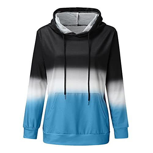 Uqiangy Hoodie Womens Classic Basic Hooded Athletic Top Lady Lightweight Casual Sweatshirt Blouse With Pocket,Multicolor (G-Blue, 16)